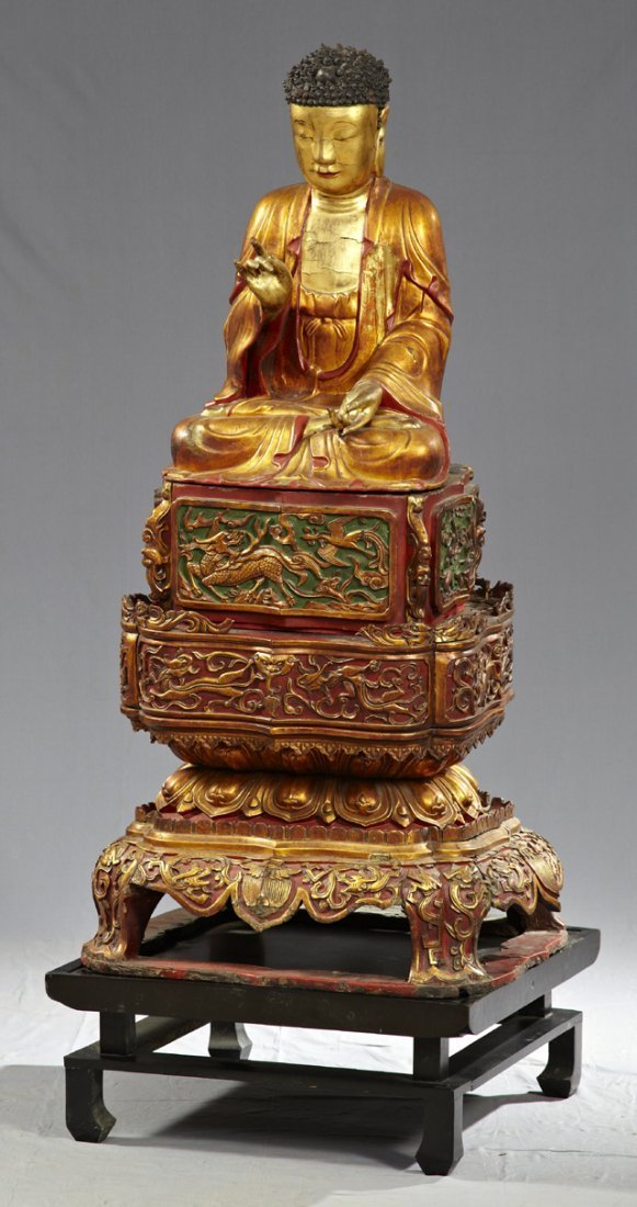 647: Monumental Chinese Carved Wood Votive Statue of Bu