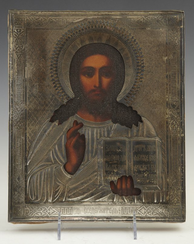 714: Russian Icon of Jesus, 19th c., with a sterling ri