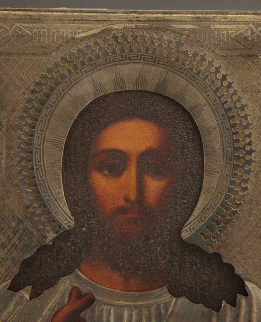 714: Russian Icon of Jesus, 19th c., with a sterling ri - 3