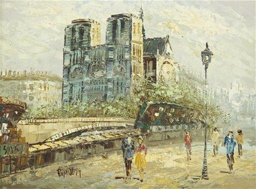 Paris Street Scene Oil Painting Burnett