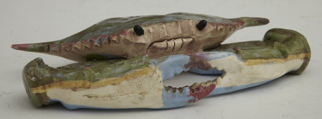 """767: Singing River Pottery Blue Crab, 20th c., marked """""""