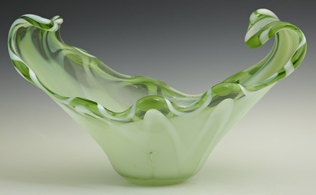 801: Murano Glass Green Center Bowl, mid 20th c., with