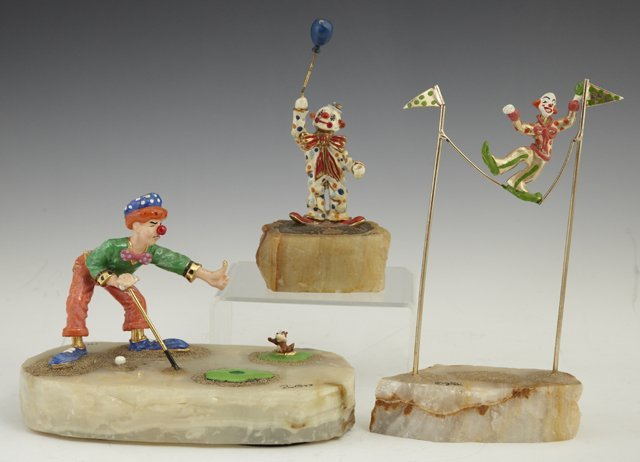 802: Group of Three Painted Clown Figures, 20th c.; one