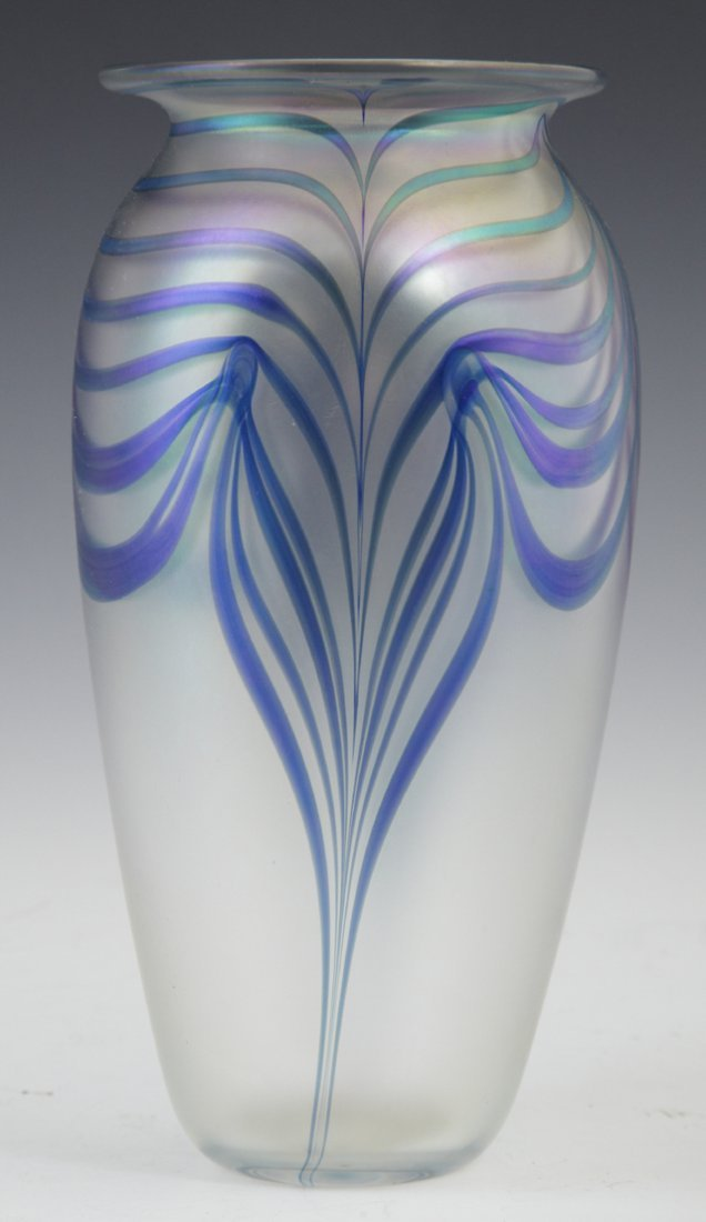 803: Iridescent Pulled Feather Baluster Art Glass Vase,