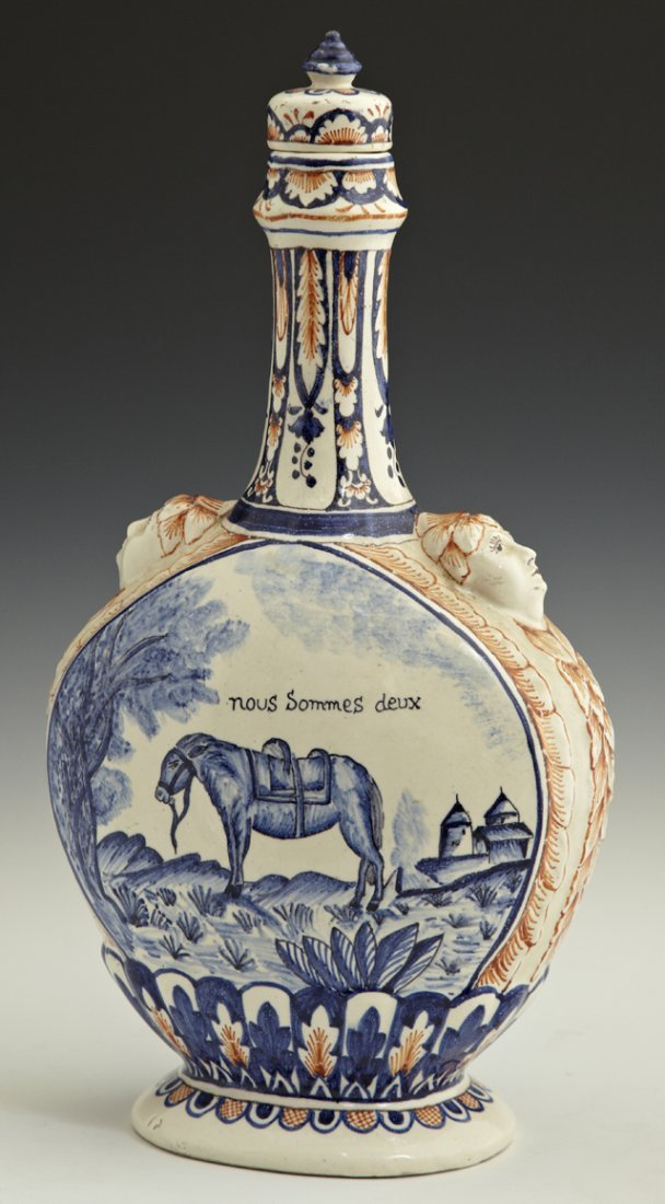 805: French Provincial Polychromed Earthenware Decanter