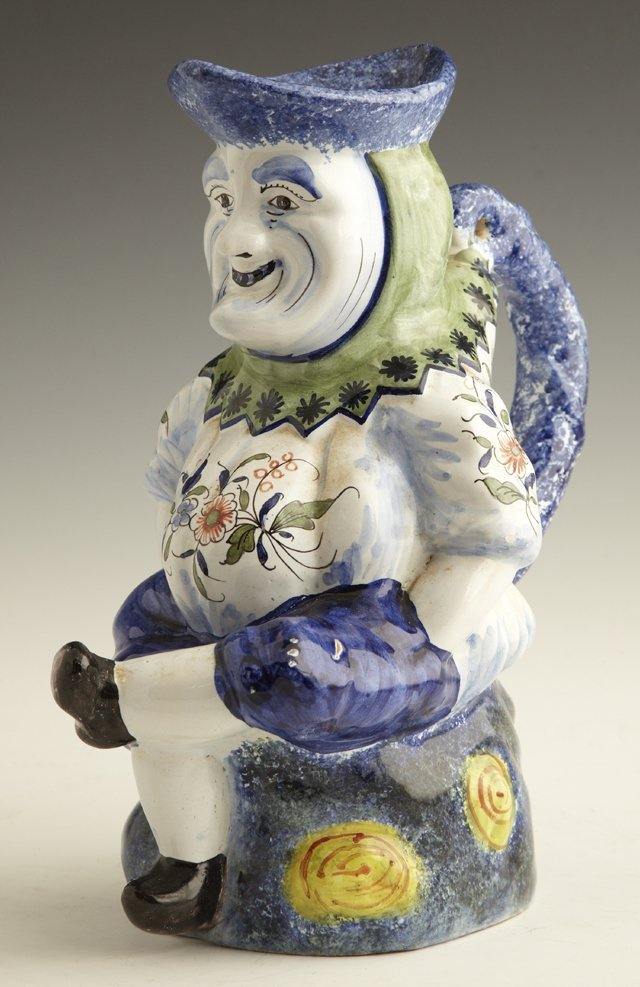806: French Faience Figural Pitcher, 20th c., with colo