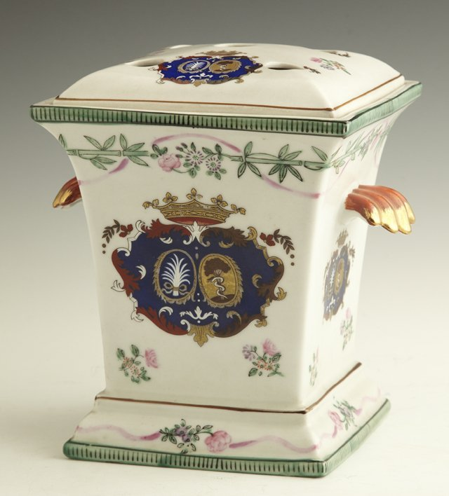 808: Continental Painted Porcelain Bough Pot, 19th c.,
