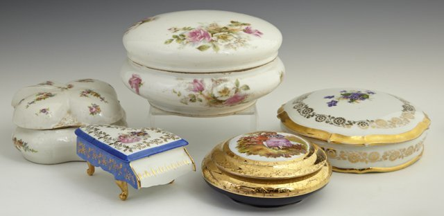 809: Group of Five Porcelain Covered Dresser Boxes, 20t