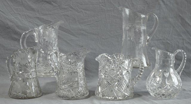 811: Group of Six Cut Crystal Pitchers, 20th c., Talles