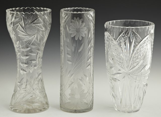 812: Group of Three Cut Crystal Vases, 20th c., one wai
