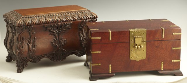 814: Two Contemporary Carved Mahogany Boxes, 20th c., o