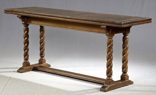 818: Unusual English Carved Oak Dining or Console Table