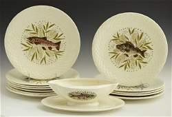 825 Thirteen Piece Ceramic Fish Set 20th c by Gien
