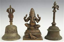 1310 Three Indian Bronze Pieces consisting of a figur