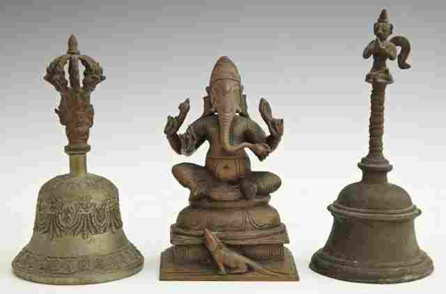 1310: Three Indian Bronze Pieces, consisting of a figur