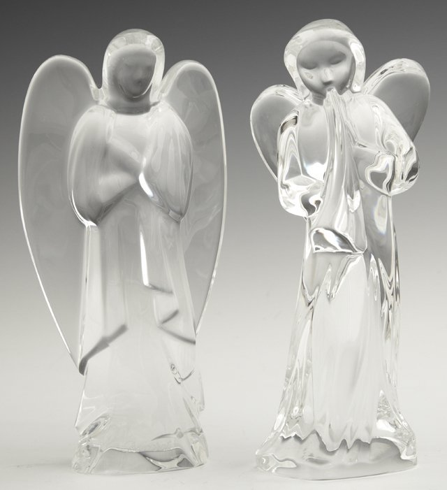 Two Baccarat Cut Crystal Angels, 20th c., one as found,