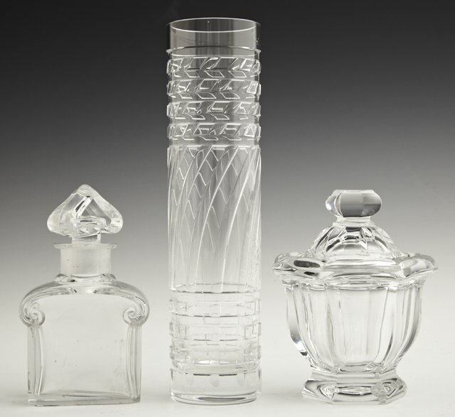 Group of Three Pieces of Baccarat Crystal, 20th c., con