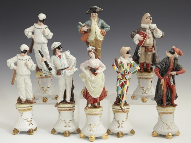Group of Eight Continental Style Porcelain Figures, 20t