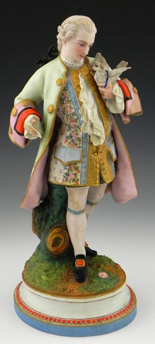 Continental Polychromed Porcelain Figure, 19th c, depic