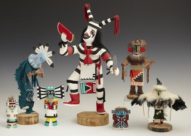 Group of Seven Kachina Dolls, 20th c., consisting of a
