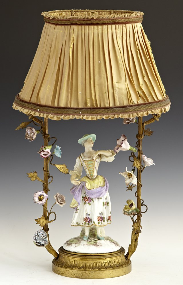 Meissen Style Porcelain and Bronze Figural Boudoir Lamp