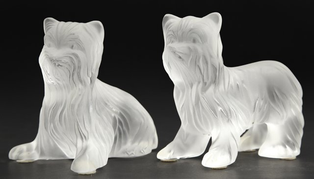 Pair of Lalique Frosted Glass Yorkie Paperweights, 20th