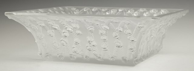"Lalique Frosted Glass ""Roses"" Square Bowl, 20th c., wit"
