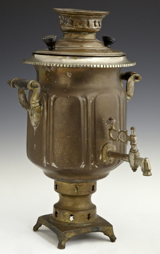 Russian Brass Platyed Samovar, 20th c., the sides with