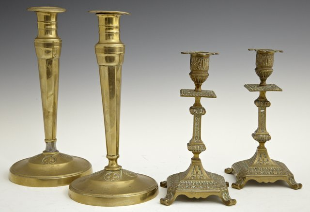 Two Pair of Brass Candlesticks, 19th c., one circular,