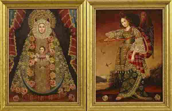 """South American School, """"The Virgin and Child,"""" and """"Mic"""