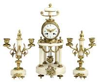 Louis XV Style Bronze and Alabaster Three Piece Clock S