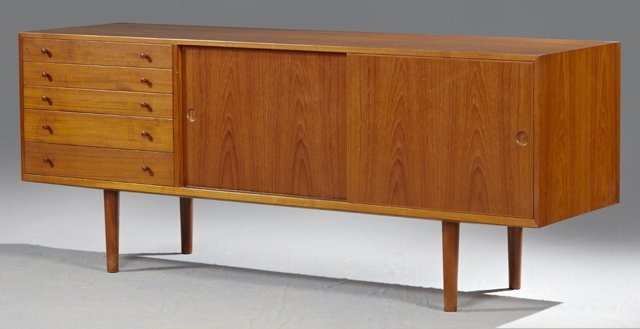 Hans Wegner Danish Modern Carved Teak Sideboard, c. 196