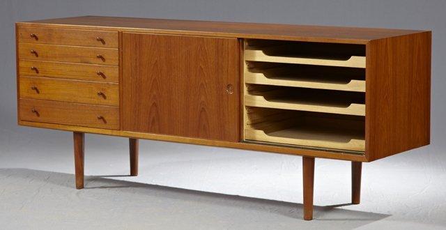 Hans Wegner Danish Modern Carved Teak Sideboard, c. 196 - 2