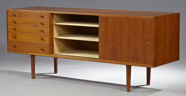 Hans Wegner Danish Modern Carved Teak Sideboard, c. 196 - 3