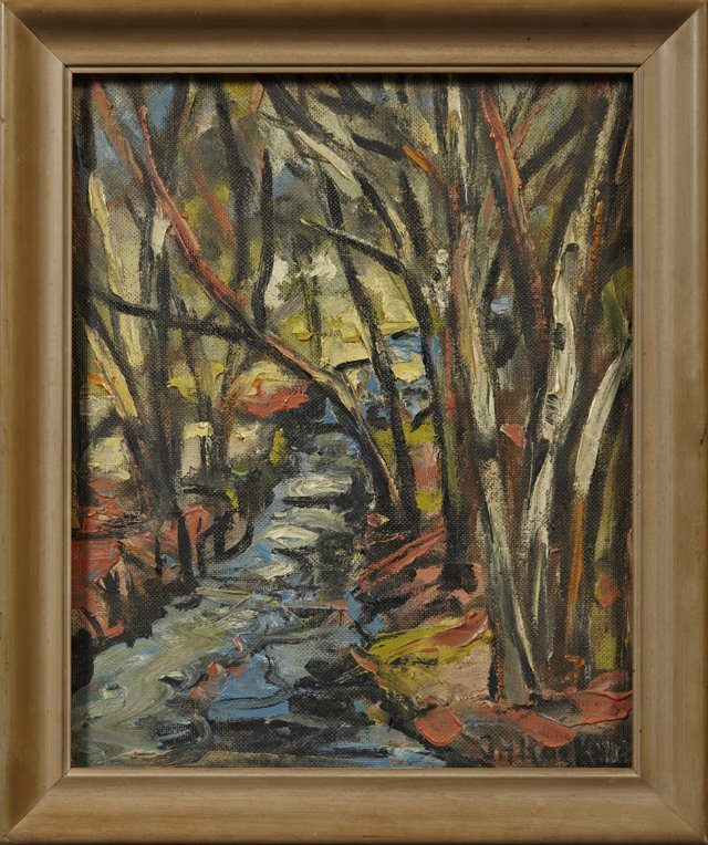 """John H. Rockwell, """"Forest and Stream,"""" 1956, oil on boa"""