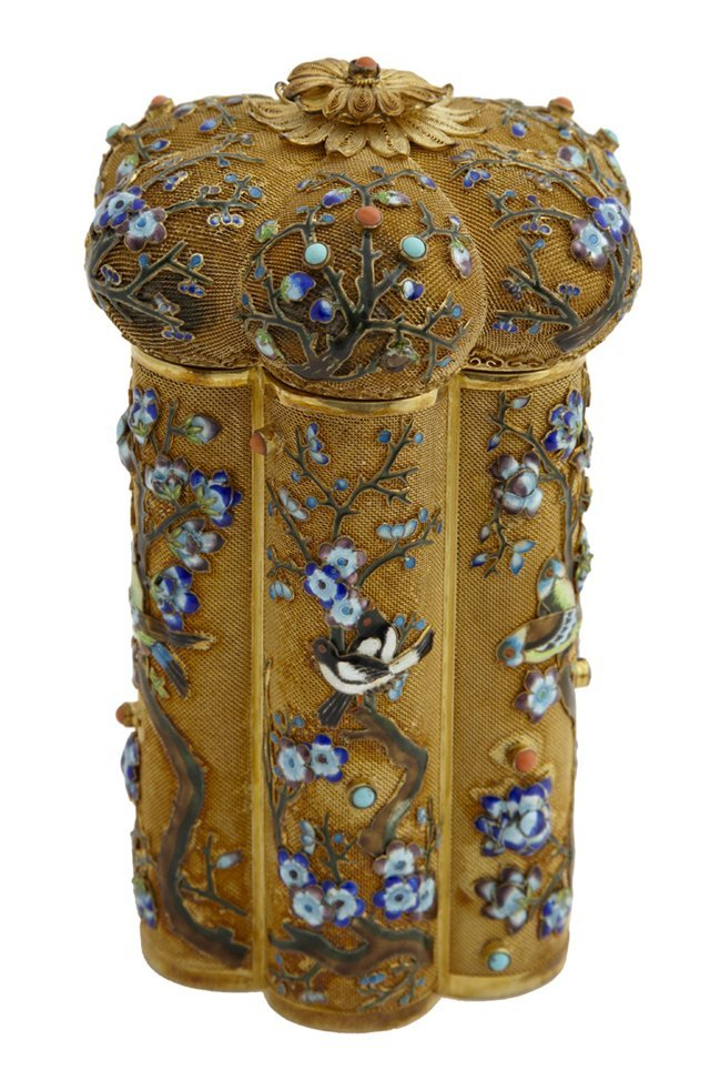 Chinese Export Gilded Filigree Silver and Enamel Tea Ca