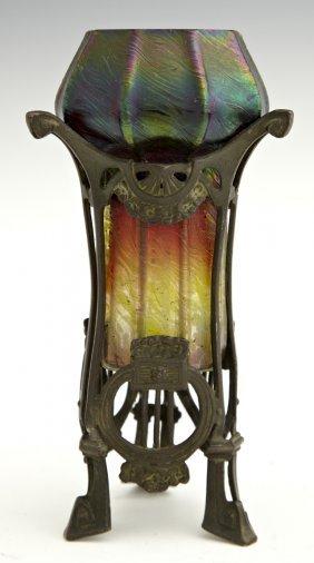 Loetz Style Iridescent Art Glass Vase, c. 1900, in a sp