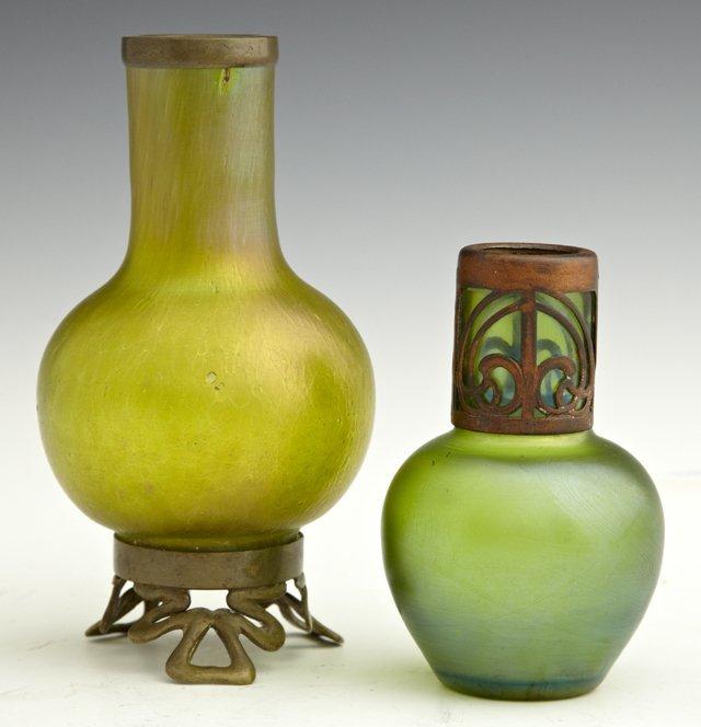 Two Diminutive Iridescent Art Nouveau Glass Vases, c. 1