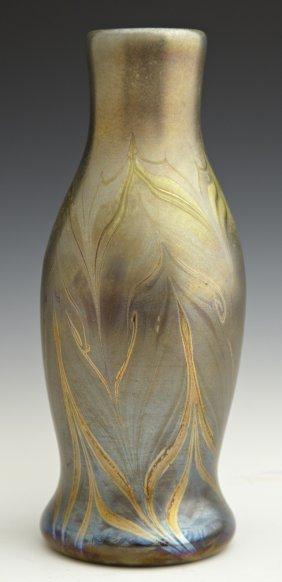 Tiffany Style Iridescent Pulled Feather Vase, 20th c.,