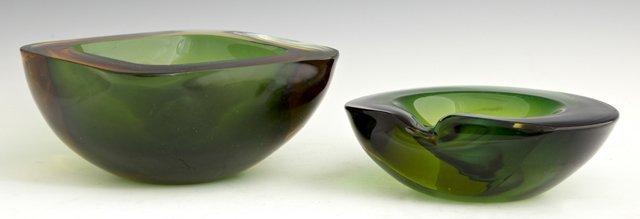 Pair of Green and Amber Glass Murano Ashtrays, c. 1960,