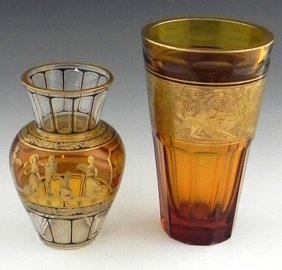 Two Gilt Decorated Amber Glass Vases, early 20th c., po