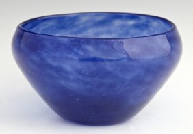 Schneider Blue Art Glass Bowl, early 20th c., signed, H