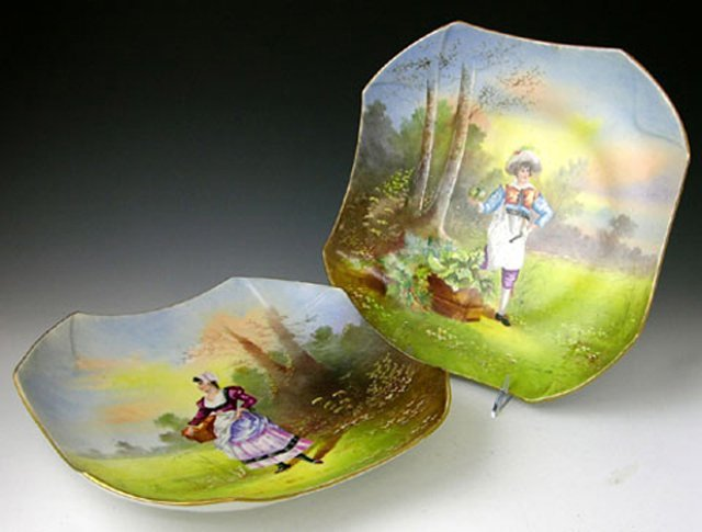 Pair of Large Square Shaped Porcelain Shallow Bowls, 19