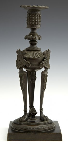 Bronze Candle Urn Form Single Candlestick, 19th C., The
