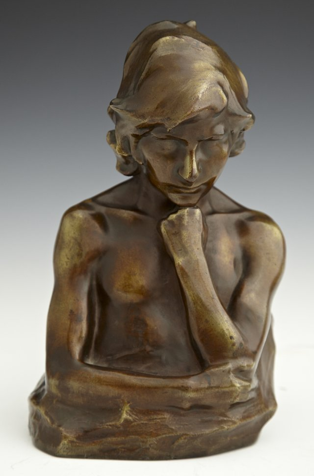"""A. Kagle, """"Bust of a Youth,"""" early 20th c., patinated b"""