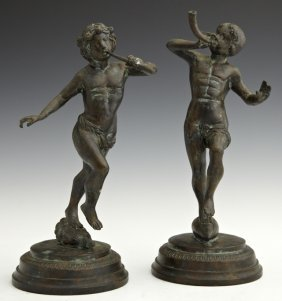 Pair of Patinated Bronze Figures, 20th c., of musical p