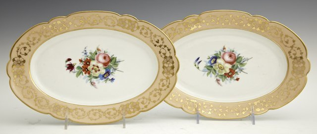 Pair of Oval Old Paris Porcelain Serving Dishes, 19th c