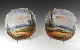 Pair of Limoges Shaped Square Cabinet Plates, 19th c.,