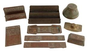 Nine Piece Tiffany Bronze Desk Set early 20th c in t