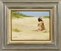 "American School, ""Nude Girl on the Beach,"" 20th c., oil"